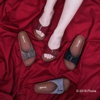 Pluvia - LUNA Sandal Flat Wanita Footbed