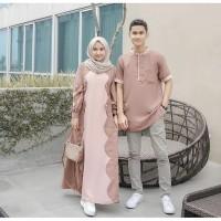 Baju Couple Set Busana Muslim Pria Dan Wanita Gamis Pasangan Murah Sua