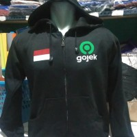 Jaket/Sweater/Hoodie/Zipper Sablon Custom Gojek,hitam