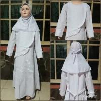 Gamis putih anak baju putih anak katun + jilbab putih size 10, 11, 12