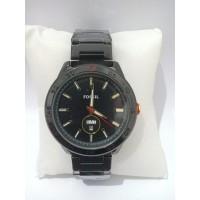 jam tangan PRIA DIAL BLACK DATE DAY STAINLESS SILVER BLACK BLUE