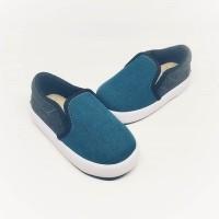 Sepatu anak laki perempuan branded slip on hitam toska SHUKU