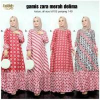 Gamis Zara Merah Delima Zarra 2 Longdress Batik Muslim Panjang Modern