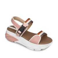 Symbolize Tania Wedges Strappy Sandal Wanita - Merah Muda