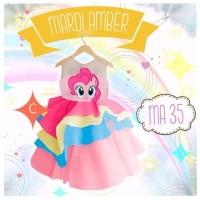 Mardi amber ruffle dress gaun pony pinky pie baju pesta anak 7-12Y