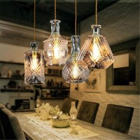 HJR Vintage Decanter Bottle Pendant Ceiling Light Chandelier