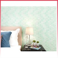 WOVEN EMBOSSED 3D NON WALLPAPER EPHEDRA MOSAIC GREEN PLAIN 53CMX10M
