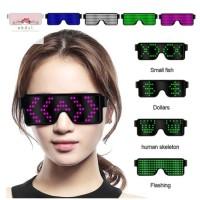 Kacamata LED Virtual Fashion USB 8 Mode Flash Light Party Dj Disko