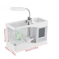Akuarium Ikan Aquarium USB Mini Tank dengan Lampu LED Jam Display LCD