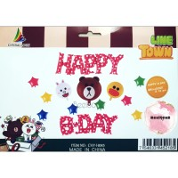 Balon Foil Set Happy Birthday / Balon Paket Ulang Tahun Line Friends