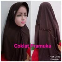 Jilbab Anak Kaos Sekolah Serut Coklat Pramuka SD