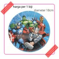 piring kertas kue cake ulang tahun party karakter avenger avengers