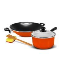 KUKINA SB Wajan Ceria Enamel 35cm & Saucepan 18cm - Orange