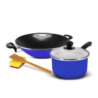 KUKINA SB Wajan Ceria Enamel 35cm & Saucepan 18cm - Blue