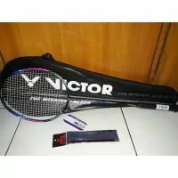 Raket badminton victor senar plus tas dan grip siap pakai import