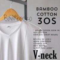kaos polos Putih V-Neck katun bambu (cotton bamboo)