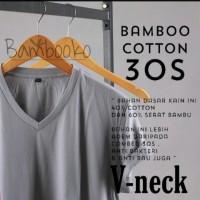 kaos polos Abu muda V-neck katun bambu (cotton bamboo)