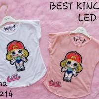 Kaos Anak Perempuan Model Baru Blus Motek Led Nyala Lampu LOL New