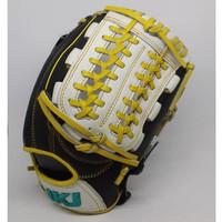 Glove Baseball Softball All Leather IKJ 11,5 inch Black white yellow