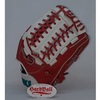 Glove Baseball Softball All Leather IKJ 11,5 inch Junior Red White