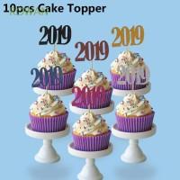10Pcs Dekorasi Kue Happy New Year untuk Pesta Ulang Tahun Anak