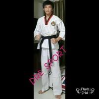Baju Taekwondo DEWASA kerah merah hitam S.M.LXL