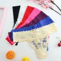Celana Dalam Wanita G-String Sexy Pakaian Cewek Transparan Lace Thong