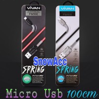 Vivan Kabel Data Charger Micro Usb FM100 2.4A 1M Spring Micro Android