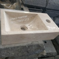 wastafel batu alam marmer kotak minimalis