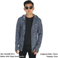 Swaeter Pria / Sweater Rajut / Knit Hoodie Fingerless Tuton Grey FRP