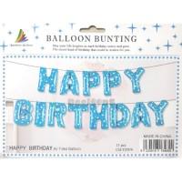 Balon Foil Huruf Set Happy Birthday Biru Polka / Paket Ulang Tahun 07