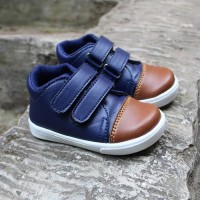 Sepatu Bayi Anak Laki Laki Casual Sporty / LK02 Velcro Navy Brown