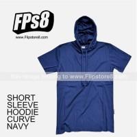 Terlaris Kaos Polos Hoodie Lengan Pendek - Navy, M Termurah