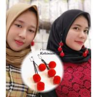 Anting Hijab Nisa Sabyan Anting Pompom Fashion Wanita Tokopelanginicer