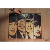 Hiasan Dinding Wood Print The Beatles