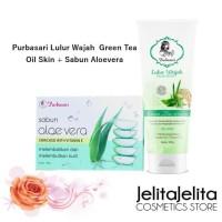 Paket Purbasari Lulur Wajah Green Tea Oily Skin + Sabun Aloevera Vit E