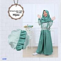 stelan cerri salur/stelan blus hijab muslim+celana kulot+pashmina anak