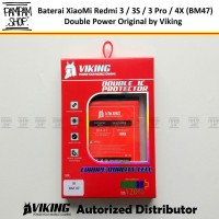 Baterai VIKING Double Power Ori XiaoMi BM47 Redmi 3 3S Pro 4X Batre