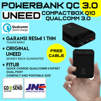 POWERBANK UNEED COMPACTBOX Q10 10000 MAH QUICK CHARGER 3.0 UPB407 ORI