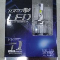 lampu led H4 turbo T1 model c6 6000k putih kristal 3800 lumens bisa hi