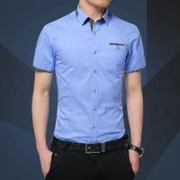 [victor softblue OT] kemeja pria katun stretch lengan pendek biru muda