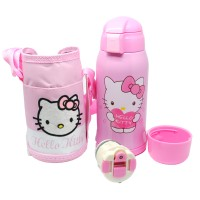 Botol Thermos Doraemon Hello Kitty Stainless Steel 600ML dengan Sarung