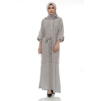 Mybamus Long Chaima Stripe Dress Light Gray M15193 R50S5