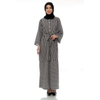 Mybamus Long Chaima Stripe Dress Black M15194 R40S3