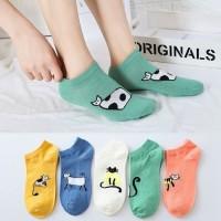 KK019 Kaos Kaki Pendek Funny Cat Wanita Low Socks