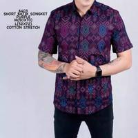 Kemeja Batik Pria Songket Pendek Purple Original
