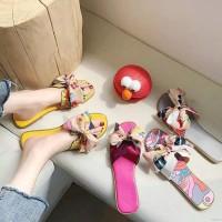Sandal Flat Open Toe Motif Pita