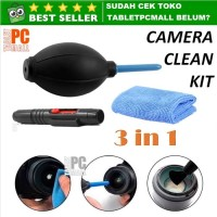 Camera Photography Cleaning Kit Set 3in1 Kamera Cloth Blower Dust Pen