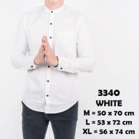 Kemeja Polos Pria Lengan Panjang Kerah Shanghai Kancing 1 Putih 3340