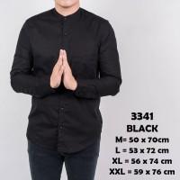 Kemeja Polos Pria Lengan Panjang Kerah Shanghai black hitam pekat 3341
